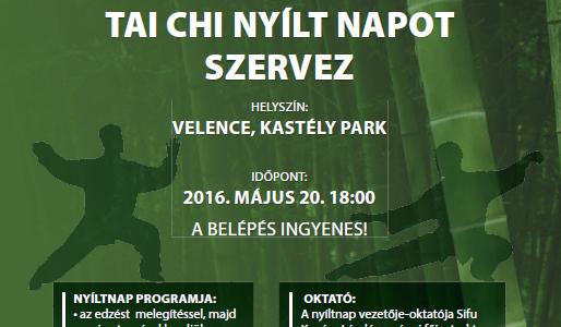 Nyílt tai chi edzés 2016. május 20. 18 óra Velence